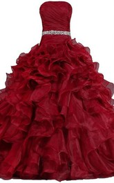 Ball Gown Floor-Length Straps Sleeveless Bell Pleats Beading Corset Back Straps Lace Organza Dress