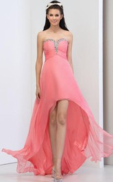 A-Line Sweetheart Sequins Asymmetry Prom Dress