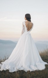 Long Sleeve Chiffon Illusion Wedding Dress With Deep V-back And Court Train
