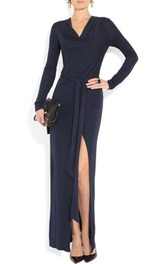 V Neck Long Sleeve Sheath Jersey Long Dress With Sash and Split