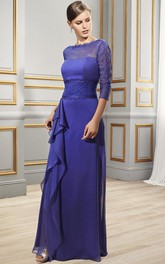 Sheath Draped Jewel-Neck 3-4-Sleeve Long Tulle&Satin Formal Dress With Lace