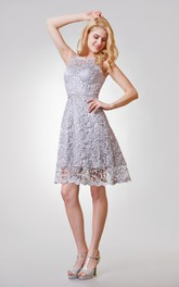 Sleeveless Short A-line Lace Dress With Keyhole