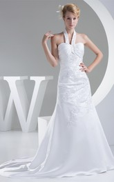 Sleeveless A-Line Criss-Cross Appliques and Gown With Halter