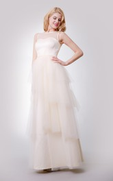 A-Line Floor Length Sleeveless Dress With Layered Skirt and Illusion Top