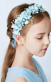 Children Pearl Flower Girl Garland Hand Flower Set