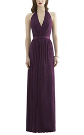 Halter Ruched Long Bridesmaid Dress with Low Back