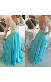 A-line V-neck Chiffon Long Sleeves Applique Sweep Train Dresses
