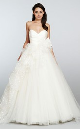 Sexy Pleated Bodice Tulle Ball Gown With Petal Embellishment