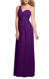 One Shoulder Floor-length Chiffon Bridesmaid Dress