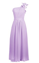 Graceful One-shoulder Chiffon A-line Gown With Bow