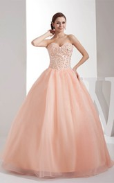 Sweetheart A-Line Pleated Ball-Gown With Gemmed Bodice