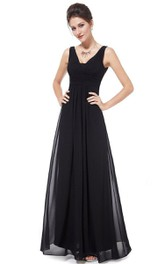 Sleeveless A-line Chiffon Dress With Low V-back