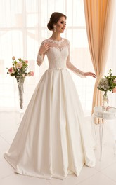 A-Line Long Jewel Long-Sleeve Illusion Satin Dress With Appliques