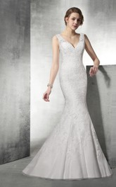 Strapy V Neck Lace Mermaid Wedding Dress With Open Back