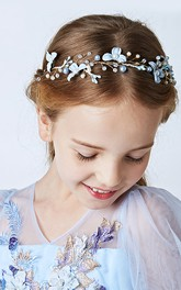 Wreath Headdress Blue Flowers Pearl Hair Band