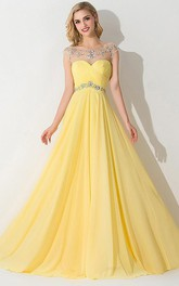 A-line Sleeveless Bateau Chiffon Ruched Sweep Train Dresses