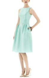 Sleeveless Fit and Flare Satin Dress with Pockets
