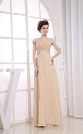 Chic V-Neck Chiffon Maxi Dress With Beaded Caped Sleeve