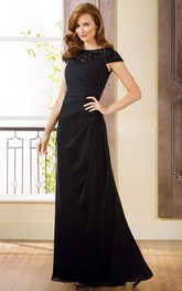 Cap-Sleeved Bateau-Neck Long Mother Of The Bride Dress With Lace Detail