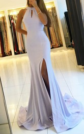 Mermaid Trumpet Satin Halter Sleeveless Open Back Straps Dress