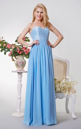 Sweetheart A-line Long Chiffon Dress With Lace Top