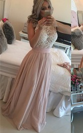 Glamorous Scoop Sleeveless Pearls Evening Dress Long Chiffon