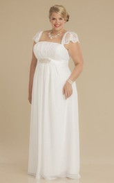 Sheath Square-Neck Ruched Empire Cap-Sleeve Chiffon Plus Size Wedding Dress With Waist Jewellery