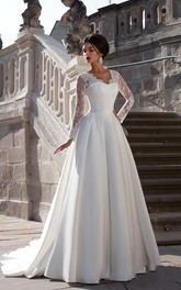 Gorgeous Scalloped Neck Satin A-line Gown With Lace Sleeves