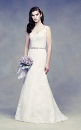Lace Elegant Dress With Beading Sash And V Back