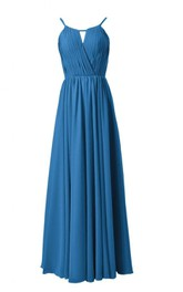 Strapless Asymmetrical Bodice Long Pleated Chiffon Dress