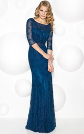 Sheath Illusion Sleeve Jeweled Scoop Neck Lace Mother Of The Bride Dress