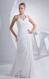 Chiffon Appliqued Floor-Length Ruched Dress With Jeweled Halter