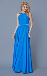 Bateau Neck Pleated Long Chiffon Dress With Satin Belt