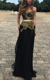Sexy Sweetheart Gold Appliques Black Evening Dress Long on Sale