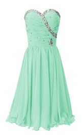 Strapless Sweetheart Ruffled Short Dress With Rhinestones