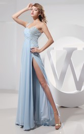 Sleeveless Chiffon Long Dress With Single Strap and Beading