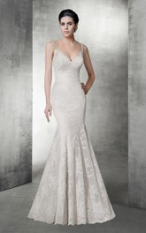 Sexy Mermaid V Neck Lace Wedding Dress