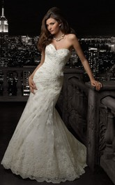 Mermaid Long Sweetheart Sleeveless Lace-Up Lace Dress With Appliques And Side Draping