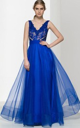 V-Neck Appliques Beading Hollow Lace Prom Dress