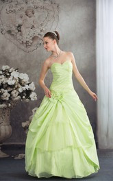Sweetheart Pick-Up Sequins and Ball-Gown With Flower