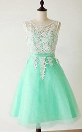 Scoop A-Line Appliques Bowknot Sashes Short Prom Dress