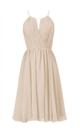 High-neck Short Chiffon Dress With Keyhole