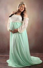 Chiffon Lace Illusion Long Sleeve Off-the-shoulder Maternity Dress