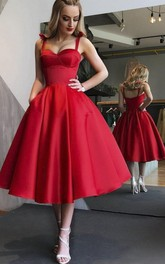 Romantic Vintage Sweetheart Tea-length Dress With Straps And Ruching
