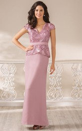V-Neck Cap-Sleeved Long Peplum Style Gown With Appliques