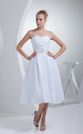 Sweetheart A-Line Tea-Length Jeweled Waist and Dress With Ruching