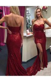 Sexy Red Sequins 2018 Prom Dresses Split Mermaid Zipper Back