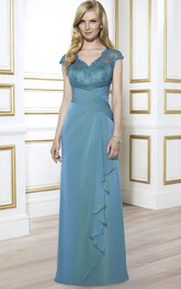 Appliqued Floor-Length Cap-Sleeve V-Neck Satin Formal Dress With Draping