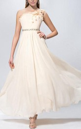 Chic Flowers Pleats Beading One-Shoulder A-line Long Prom Dress