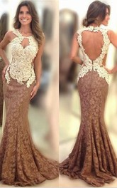 Sexy Appliques Mermaid Evening Dress 2018 Sweep Train Zipper